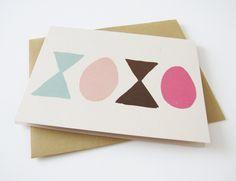 valentine's day card. xoxo. hand drawn. blank inside via Etsy
