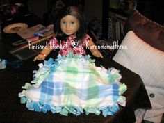 Karen mom of three's craft blog: No sew throw, a blanket for your 18 inch doll total cost $1.25
