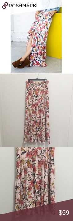 """Free People   Smooth sailing petal combo maxi Like new, never worn, tried it on and it was too big for me. The size has been cut out. The waist measures 32"""" (16"""" flat across). Equivalent to a size 8! Offers are welcome! Free People Skirts Maxi"""