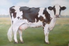 """Items similar to Holstein Cow - """"Gwendolyn"""" giclee print on Etsy Sheep Paintings, Animal Paintings, Miniature Cattle, Holstein Cows, Flower Quilts, Cow Painting, White Cow, Cow Art, Cute Cows"""