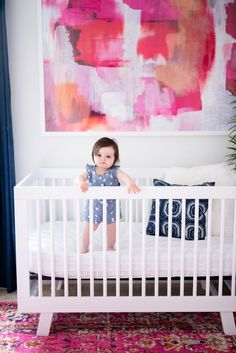 Girl's Mid Century Modern Nursery with product links how darling is this modern nursery with midcentury accents? perfect for a fun and bright little girl that could easily grow with the decor Nursery Themes, Nursery Art, Girl Nursery, Nursery Decor, Nursery Ideas, Nautical Nursery, Nursery Rugs, Nursery Prints, Bright Nursery