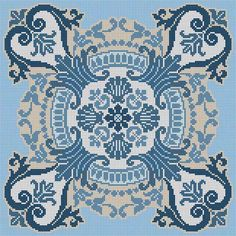 Blue Tile Counted Cross Stitch Patterns, Cross Stitch Charts, Cross Stitch Designs, Cross Stitch Embroidery, Embroidery Patterns, Hand Embroidery, Mantel Azul, Palestinian Embroidery, Bargello