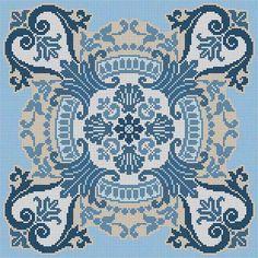 Blue Tile Counted Cross Stitch Patterns, Cross Stitch Designs, Cross Stitch Charts, Cross Stitch Embroidery, Embroidery Patterns, Hand Embroidery, Mantel Azul, Cross Stitch Cushion, Palestinian Embroidery