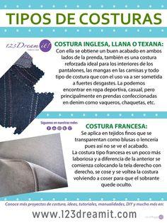 Da click sobre la imagen para conocer los diferentes tipos de costuras para dar un excelente acabado a tus prendas, ¿Ya las conocías?