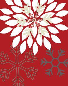 Christmas Art Print Set Christmas Wall Art // Flower Bursts