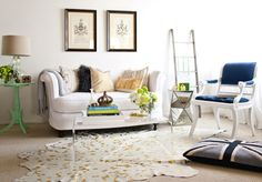 White Living Space with Eclectic Furniture, Mint + Blue