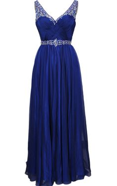 b1ddc4541 Royal Blue Prom Dresses Rhinestone Beaded Chiffon Prom Gowns Strapless  Party Evening Dress For Women. Alison Tang