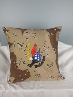 Decorative Pillow, US Army Veteran, Machine Embroidered