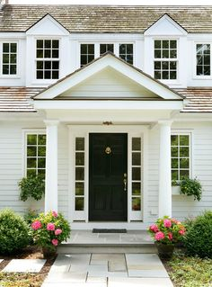 House entrance exterior curb appeal black doors 69 ideas for 2019 Front Door Overhang, Front Door Entrance, Front Door Colors, Front Entrances, House Entrance, Entry Doors, Front Entry, Portico Entry, Garage Doors