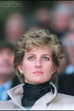 January 21, 1995: Princess Diana watching the Wales v France Rugby match during the Five Nations Championships at Parc de Princes in Paris, France.