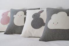 Grey Bunny Cushion - 100% Wool & Cotton