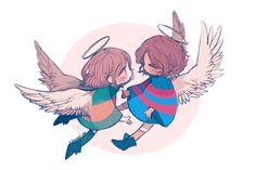 #Frisk#Chara#Undertale#Angel Undertale Drawings, Undertale Fanart, Undertale Comic, Chara, Toby Fox, Rpg Horror Games, Cute Illustration, Cute Drawings, Anime