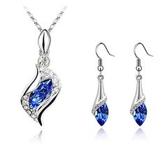 KALIS Fashion Jewelry Set Platinum-plated Alloy Austria Crystal Necklace and One pair Earrings Blue Pendants High Quality Gurantee Jewley Nice For Girls KALIS http://www.amazon.com/dp/B00YOFZ9VC/ref=cm_sw_r_pi_dp_mV0Lvb0JY8RRZ