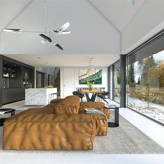 Projekt domu Odważny 1 158 m2 - koszt budowy - EXTRADOM Open Plan, Home Projects, House, Interior, Bedroom, Open Floor Plans, Haus, Homes, House Projects