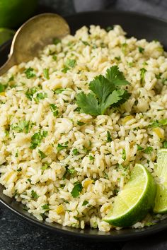 Cilantro-Lime Rice  Saute Onions 1 minute, add garlic and dry rice saute 2 more mins, Add veg or chicky broth, lime juice, green chilis, salt and pepper. bring to a boil, reduce to low, cover, simmer 20 mins w/out removing lid. Fluff when done add cilantro and more lime juice.