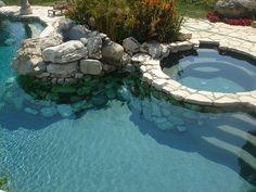 Rock pond pool with hot tub (add waterfall). GORGEOUS!