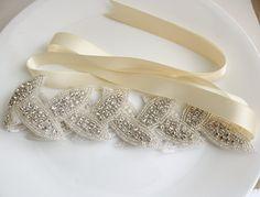 Applique Crystal Bridal Headband Wedding Leaf by poetryjewelry, $60.00 @Blair Monroe