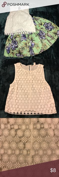 H&M White Lace Top A lovely top, slightly cropped - this sits just below waistline. A floral design created with white lace. Minimally worn - like new condition. *listing includes top only H&M Tops Blouses