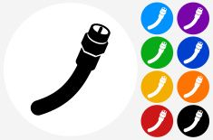 Cable Icon on Flat Color Circle Buttons vector art illustration