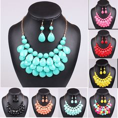 Hot Acrylic Bead Chokers Statement Necklaces 2016 Bib Bubble Necklace Earrings…