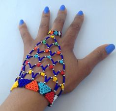 Gorgeous handmade beaded handpiece in organic beads. These come in various colours kindly specify when placing an order. Beaded Necklace Patterns, Fabric Necklace, Fabric Jewelry, Beading Patterns, Beaded Bracelets, African Necklace, African Beads, African Jewelry, Tribal Necklace