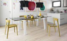Wood, metal and glass table Levante - Calligaris CS/4091-R
