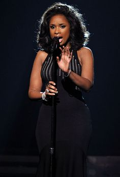 Jennifer Hudson sings a tribute to the late Whitney Houston at the 2012 Grammy Awards