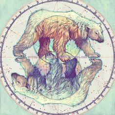 http://yaphleen.tumblr.com/ http://yaphleen.deviantart.com  polar bear, illustration #mombodysoul
