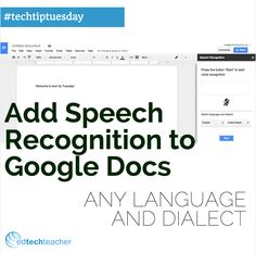 Help all learners succeed with reading and writing in any language or dialect by adding Speech Recognition to Google Docs. Learn how in this tutorial: https://www.youtube.com/watch?v=TK5DN68OmXc