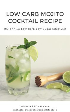 A classic cocktail, this delicious Low Carb Mojito Cocktail is not missing out on flavor simply because it doesn't have any sugar in it. A delicious blend of lime, mint, and soda water make this refre Low Carb Cocktails, Healthy Cocktails, Refreshing Cocktails, Cocktail Recipes, Summer Cocktails, Pina Colada, Best Diet Drinks, Mojito Cocktail, Cocktail Menu