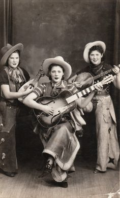 Women Musicians of the Wild West  CREDIT PLEASE Original rppc Photograph circa 1935