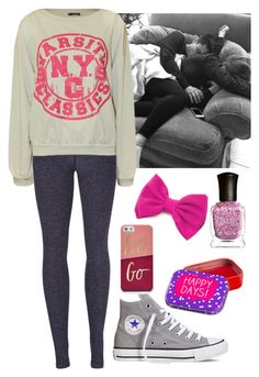 """Cuddling w/ Sammy Wilk"" by baeisme ❤ liked on Polyvore featuring Beyond Yoga, Converse, Deborah Lippmann, Happy Jackson and FOSSIL"