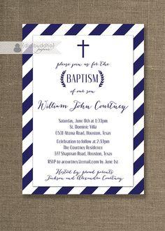 Navy Stripe Boy Baptism Invitation Blue & White Cross Laurel Wreath Christening…