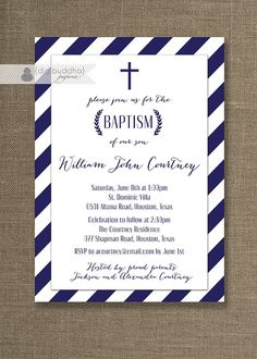 Navy Stripe Boy Baptism Invitation Blue & White Cross Laurel Wreath Christening Baby Blue Christian DIY Digital or Printed - Courtney Style