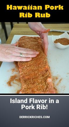 Give this Hawaiian Pork Rib Rub the next time you want to put a little island flavor on your ribs. This rub enhances but leaves the pork flavor king. Pork Ribs Grilled, Smoked Pork Ribs, Dry Rub Recipes, Rib Recipes, Seafood Recipes, Homemade Spices, Homemade Seasonings, Bbq Dry Rub, Dry Rubs