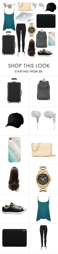 """""""The Plane to Korea (Year 2)"""" by alyssarask ❤ liked on Polyvore featuring Rimowa, Hot Topic, Flexfit, Panasonic, Gray Malin, Kate Spade, Michael Kors, Converse, WearAll and Incase"""