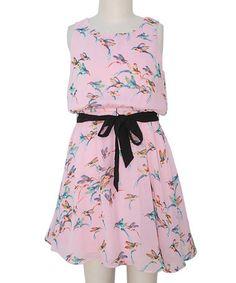 Look at this #zulilyfind! Pink & Black Bird Blouson Dress - Girls #zulilyfinds