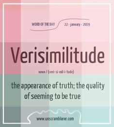 Todays is: Verisimilitude Synoyms are A very cool philosophical concept 😇 Test drive for 7 days FREE, the biggest and best Web Platform in the world Interesting English Words, Unusual Words, Weird Words, Rare Words, Learn English Words, Unique Words, Cool Words, Words To Use, New Words