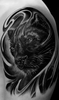 Hands up who likes the baddest cat of them all, the panther? Angry panther tattoos show that t Jaguar Tattoo, Wolf Tattoos, Animal Tattoos, Black Tattoos, Neue Tattoos, Body Art Tattoos, Sleeve Tattoos, Traditional Panther Tattoo, Traditional Tattoo