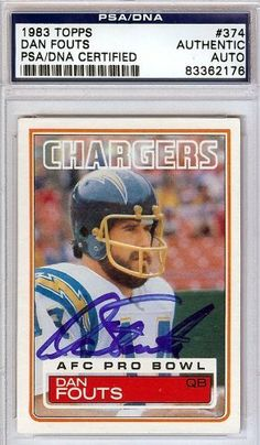 Dan Fouts Autographed/Hand Signed 1983 Topps Card PSA/DNA #83362176 by Hall of Fame Memorabilia. $56.95. This is a 1983 Topps Card that has been hand signed by Dan Fouts. It has been authenticated by PSA/DNA and comes encapsulated in their tamper-proof holder.