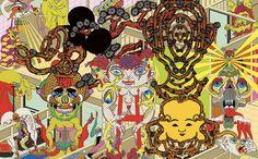 Intricate pop art by Keiichi Tanaachi - Lost At E Minor: For creative people Japanese Pop Art, Japanese Artists, Illustration Pop Art, Keiichi Tanaami, Psychedelic Artists, Bridge, Art Japonais, Pop Surrealism, All Art