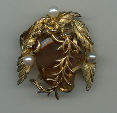 1960s Hattie Carnegie Brooch with Agate and Real by Jewelboy, $40.00