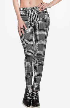 Flocked Houndstooth Pants 50.00