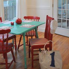 Cherry Kitchen Decor Red Chairs Aqua Table