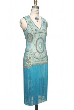 1920s Flapper Dresses Old Hollywood Glamour Dress in GoldTurquoise $380.00 AT vintagedancer.com