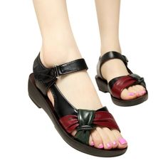 Cheap flat sandals, Buy Quality fashion sandals women directly from China sandals women Suppliers: ZZPOHE 2017 summer Mother shoes flat sandals women aged leather Soft bottom mixed colors fashion sandals comfortable old shoes Shoes Flats Sandals, Flat Sandals, Strap Sandals, Converse Shoes, Vans, Old Shoes, Latest Shoe Trends, Pumps, Sandals For Sale