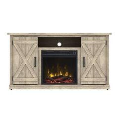 Electric Fireplace Inserts with Heaters . Electric Fireplace Inserts with Heaters . Fireplace Media Console, Electric Fireplace Tv Stand, Fireplace Screens, Brick Fireplace, Fireplace Ideas, Fireplace Design, Basement Fireplace, Barn Door Cabinet, Barn Doors