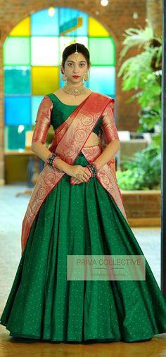 Lehenga Saree Design, Lehenga Designs, Ghagra Saree, Choli Designs, Silk Lehenga, Silk Sarees, Kerala Saree Blouse Designs, Half Saree Designs, Long Gown Dress