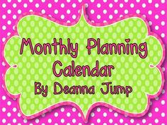 Monthly Planning Calendar Freebie - Deanna Jump - TeachersPayTeachers.com
