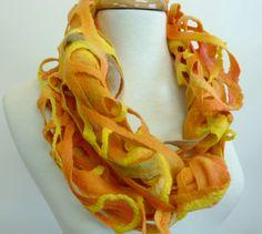Wool Fashion Scarf Felt scarf Woven Gold by sesenarts on Etsy, $60.00
